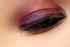 Macro shot of woman's beautiful eye, bright and deep colors make Stock Images