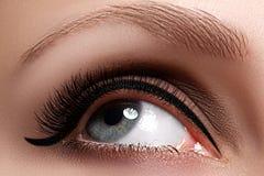 Macro shot of woman's beautiful eye with extremely long eyelashes. Sexy view, sensual look. Female eye with long eyelashes Stock Photos
