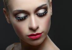 Macro shot of woman's beautiful eye with fashion eyelashes. Stock Photography