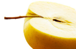 Macro shot of yellow juicy apple Royalty Free Stock Image