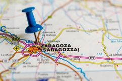 Zaragoza on map stock image