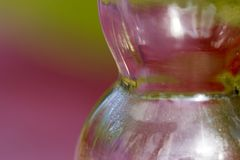 Macro of side of hourglass shaped clear glass bottle reflecting. Focused on the seam along side and condesation on the inside of the glass bottle Royalty Free Stock Image