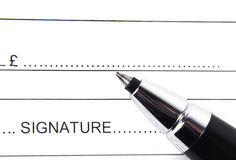 Macro  signature form Royalty Free Stock Photography