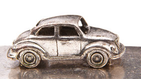 Macro silver car miniature Stock Photography