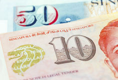 Macro Singapore dollars banknote Stock Photos