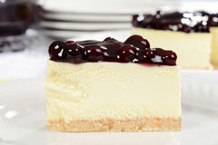 Macro slice of blueberry cheesecake Royalty Free Stock Photography