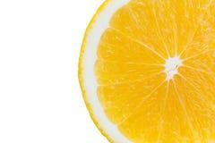 Macro slice of fresh orange isolated on white. Saved with clippi Stock Photos