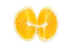 Macro slice of fresh orange isolated on white. Saved with clippi Stock Images