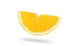 Macro slice of fresh orange isolated on white. Saved with clippi Royalty Free Stock Photos