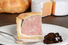 Macro slice of pork pie Royalty Free Stock Photo