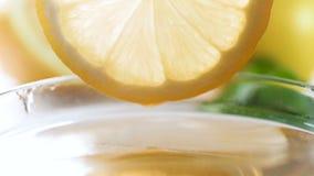 Macro slow motion footage of slowly dipping lemon slice in honey jar. Macro slow motion video of slowly dipping lemon slice in honey jar stock footage