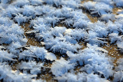 Macro snow crystal textures, background Stock Photo