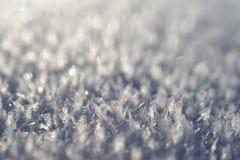 Macro snow crystals Stock Photo