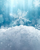 Macro Snowflake and Fallen Defocused Snowflakes stock illustration