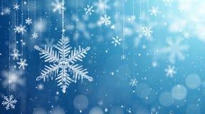 Macro Snowflake and Fallen Defocused Snowflakes vector illustration