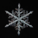 Macro snowflake ice crystals Stock Photo
