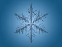 Macro Snowflake On Blue Royalty Free Stock Images