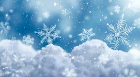 Macro of snowflake on snow royalty free illustration