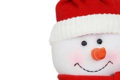 Macro snowman face. Isolated macro snowman face on white background Stock Photos