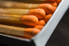 Macro Of Some Matches In A Matchbox 1 Royalty Free Stock Photography