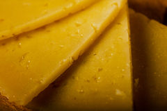 Macro of Spanish Cured Cheese Slices Stock Image