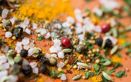Macro spices. Macro shot of different spices royalty free stock photos