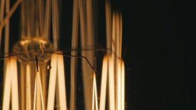 Macro spiraalvormige gloeilamp Langzaam aan zet Op een zwarte achtergrond stock videobeelden