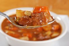 Macro spoonful of beef stew royalty free stock photo