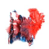 Macro spot red, blue blotch texture isolated on Royalty Free Stock Photo