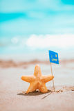 Macro starfish with summer flag at the seashore. Stock Images