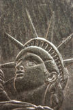 Macro of Statue of Liberty on One Dollar Silver Coin Royalty Free Stock Photo