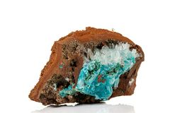 Macro stone Hemimorphite mineral on white background. Close up royalty free stock photo