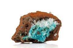 Macro stone Hemimorphite mineral on white background. Close up stock photography
