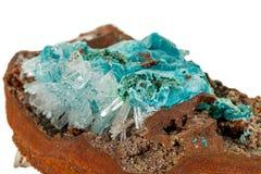 Macro stone Hemimorphite mineral on white background. Close up royalty free stock photography