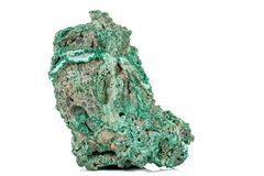 Macro stone Malachite mineral on white background. Close up royalty free stock photos