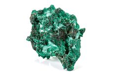 Macro stone Malachite mineral on white background. Close up royalty free stock photo