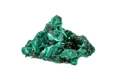 Macro stone Malachite mineral on white background. Close up royalty free stock photography