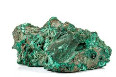 Macro stone Malachite mineral on white background. Close up stock images