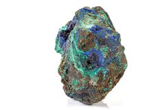 Macro stone mineral Azurite Malachite on a white background. Close up stock photography