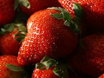 Macro of strawberries Stock Images