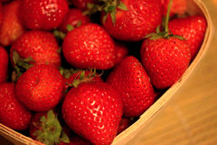 Macro Strawberries ina Basket-1 Royalty Free Stock Images
