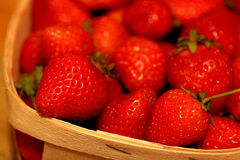 Macro Strawberries ina Basket Stock Images