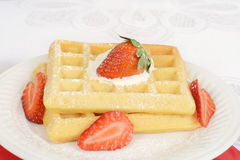 Macro strawberry and cream waffles Stock Photography