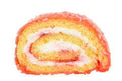 Macro strawberry jelly roll cake Royalty Free Stock Photo