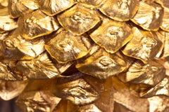 Macro struttura dorata dei coni Fotografia Stock