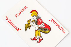Macro Studio Image of a red Joker Playing Card Royalty Free Stock Images