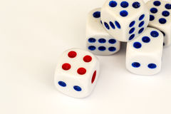 Macro Studio Shot of Five White Plastic Dice Royalty Free Stock Images