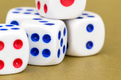 Macro Studio Shot of Five White Plastic Dice Stock Photo