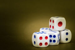 Macro Studio Shot of Five White Plastic Dice Royalty Free Stock Photo
