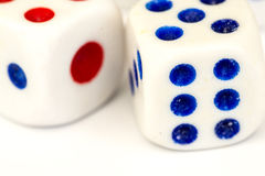 Macro Studio Shot of Two White Plastic Dice Royalty Free Stock Photos